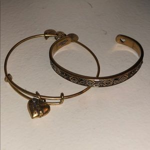 Alex and Ani bracelet set gold finish